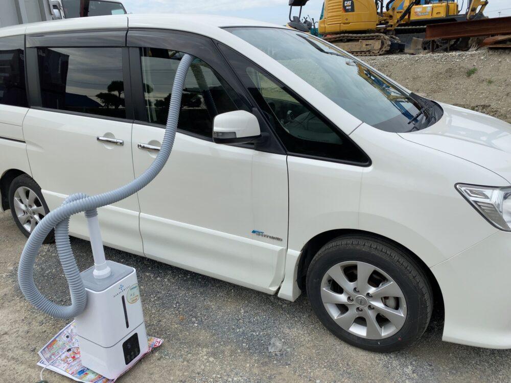 銀イオンと大型加湿器で車内除菌
